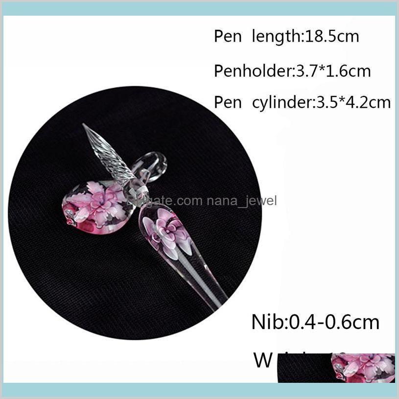 creative vintage handmade art elegant crystal floral glass dip pen sign ink pens school & office gift new drop shiping