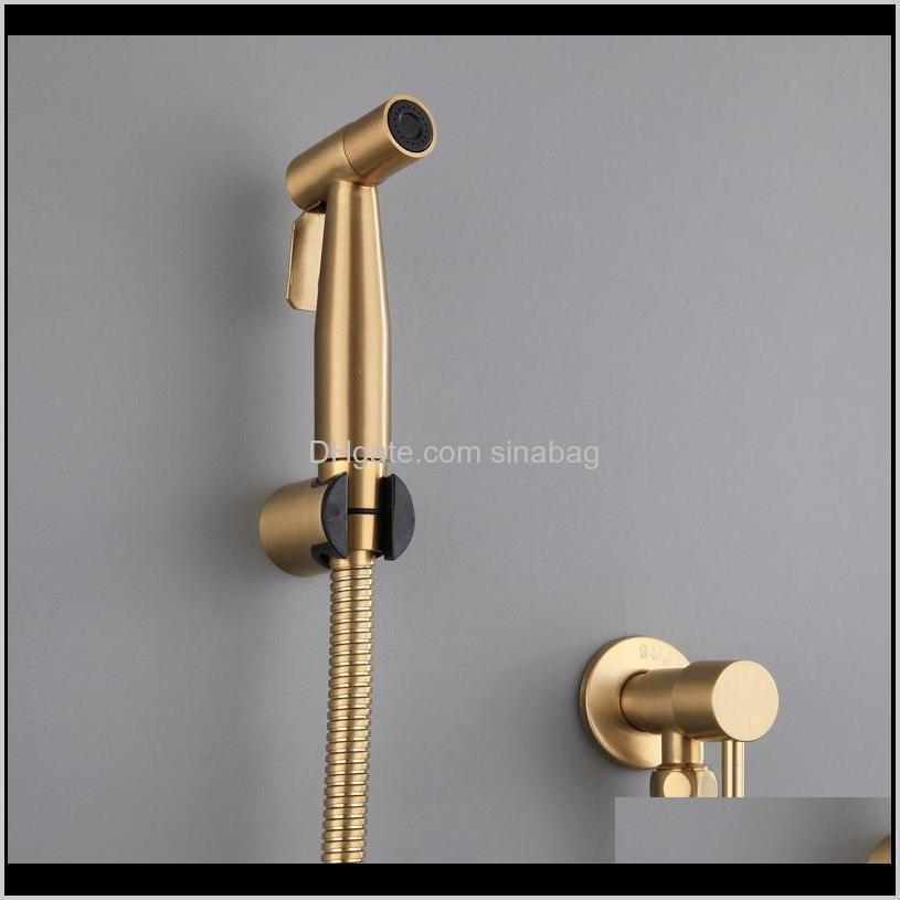 antique brushed gold douche kit hand held bidet sprayer stainless steel toilet bidet faucet shattaf valve jet set shower head y200321