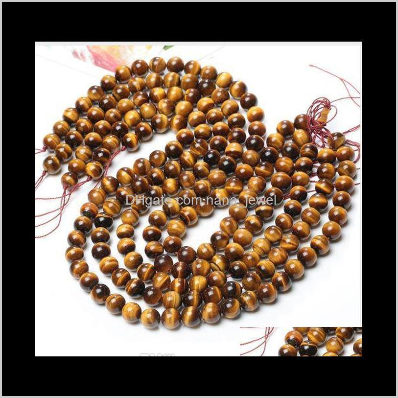 wholesale natural tiger eye round loose stone beads for jewelry making diy bracelet necklace 4/6/8/10mm strand 15``