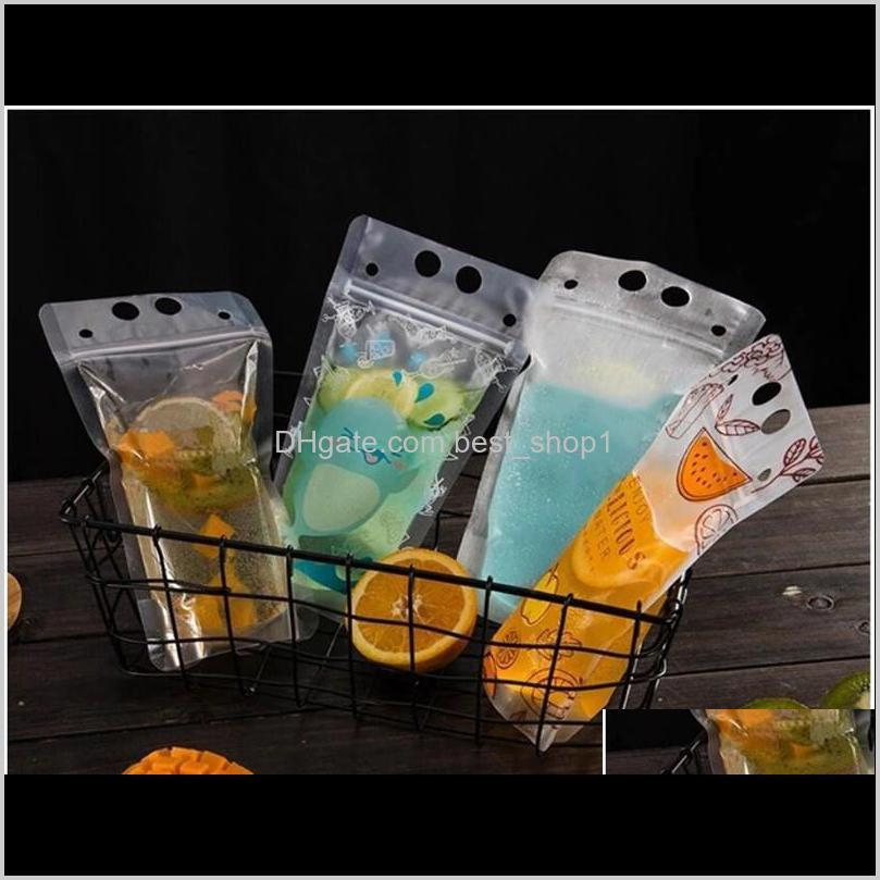 500pcs clear drink pouches bags frosted zipper stand-up plastic drinking bag with straw with holder reclosable heat-proof 17oz st454