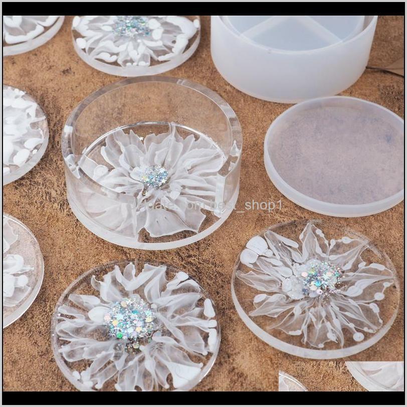 diy epoxy resin silicone molds craft tools circular white crystal coaster drop glue round storage box mould transparent 9 5rh m2