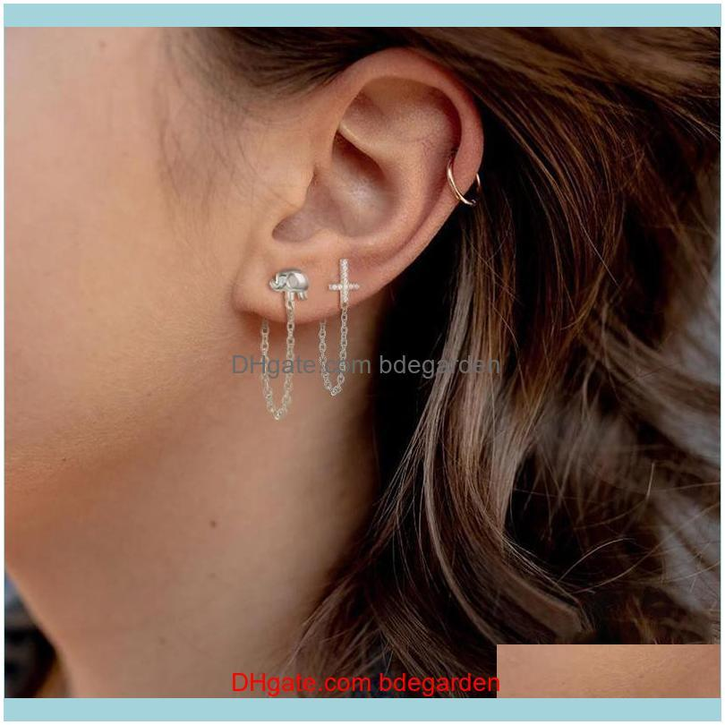 Silver Fine Earring Chain Tassel Stud Earring For Engagement Birthday Cute Elephant Piercing 2020