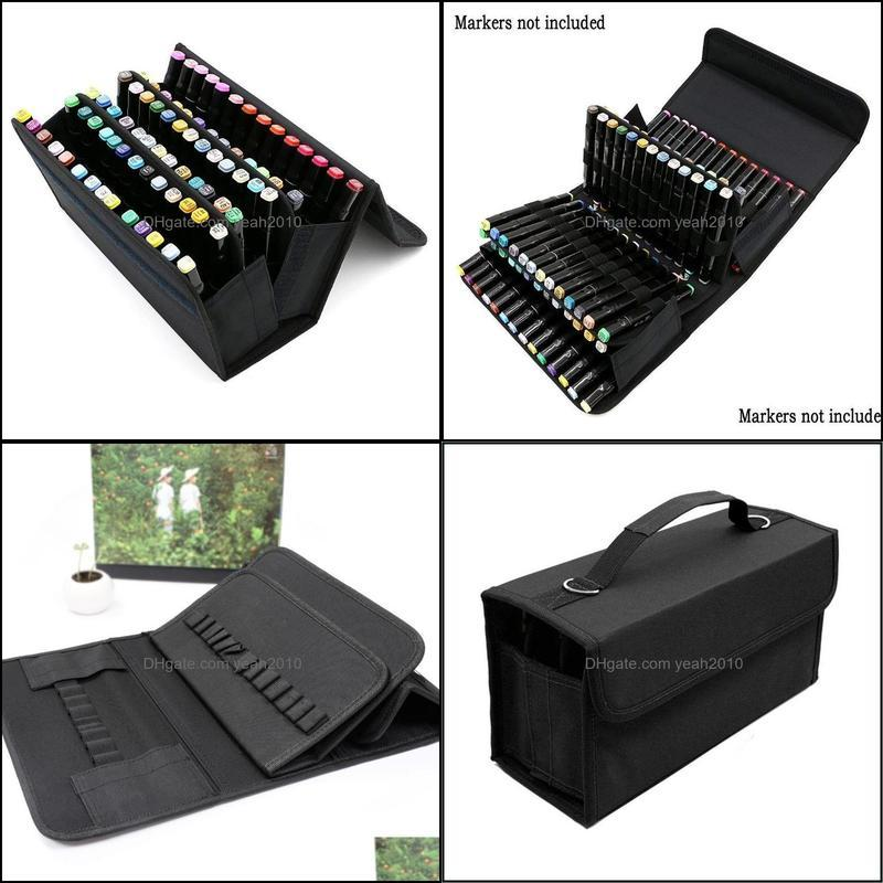 Slots Large Capacity Folding Marker Pen Case Art Markers Storage Carrying Bag Durable Sketch Tools Organizer Pencil Bags