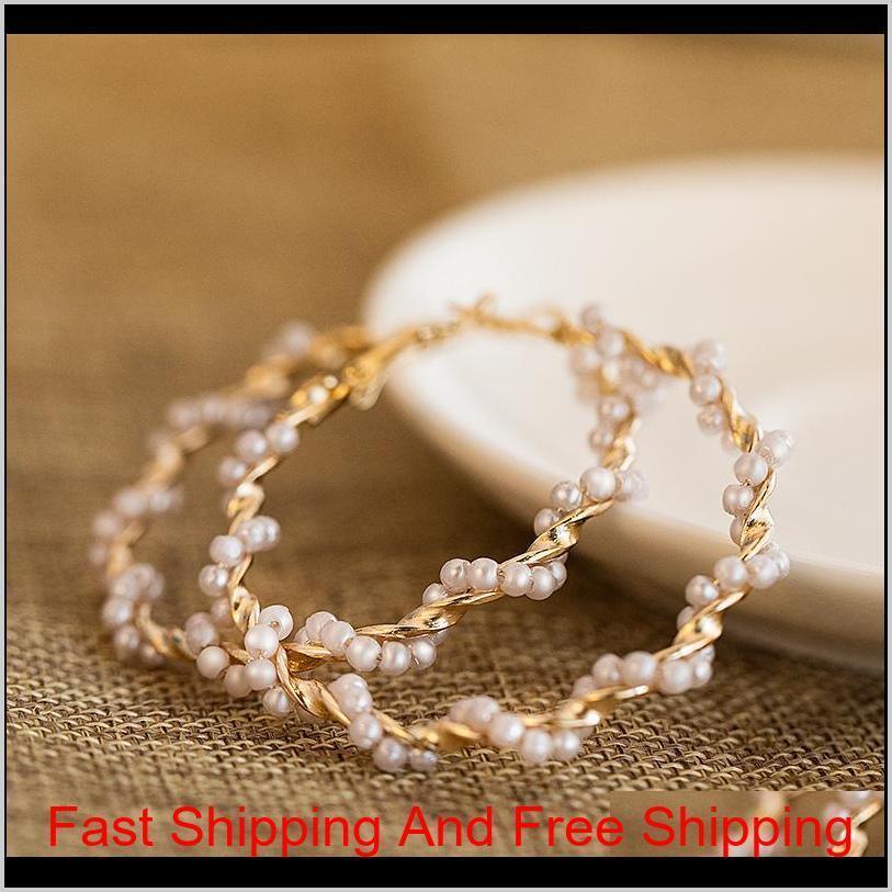 women`s earrings pearl hoop drop earrings for women heart long circle earring fashion jewelry 2020 geometric kolczyki earing