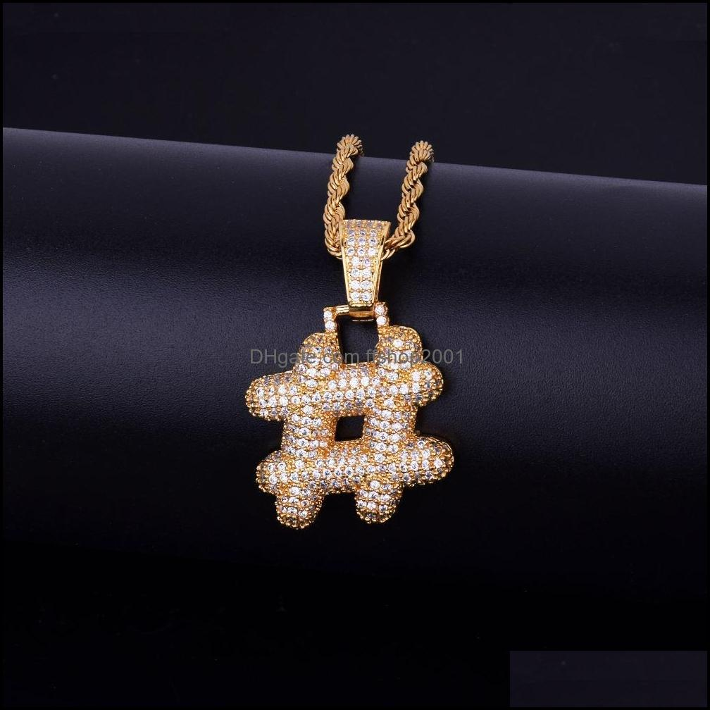 Bubble Letters Men`s Symbol Necklaces & Pendant US Dollar Sign Women Gold Silver Color Ice Out Cubic Zircon Hip Hop Jewelry Gifts