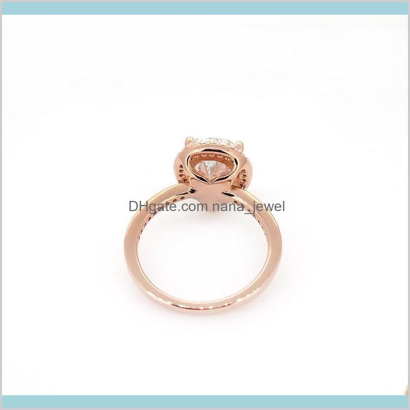 tear drop cz diamond 925 silver wedding ring original box for pandora 18k rose gold water drop rings set for women