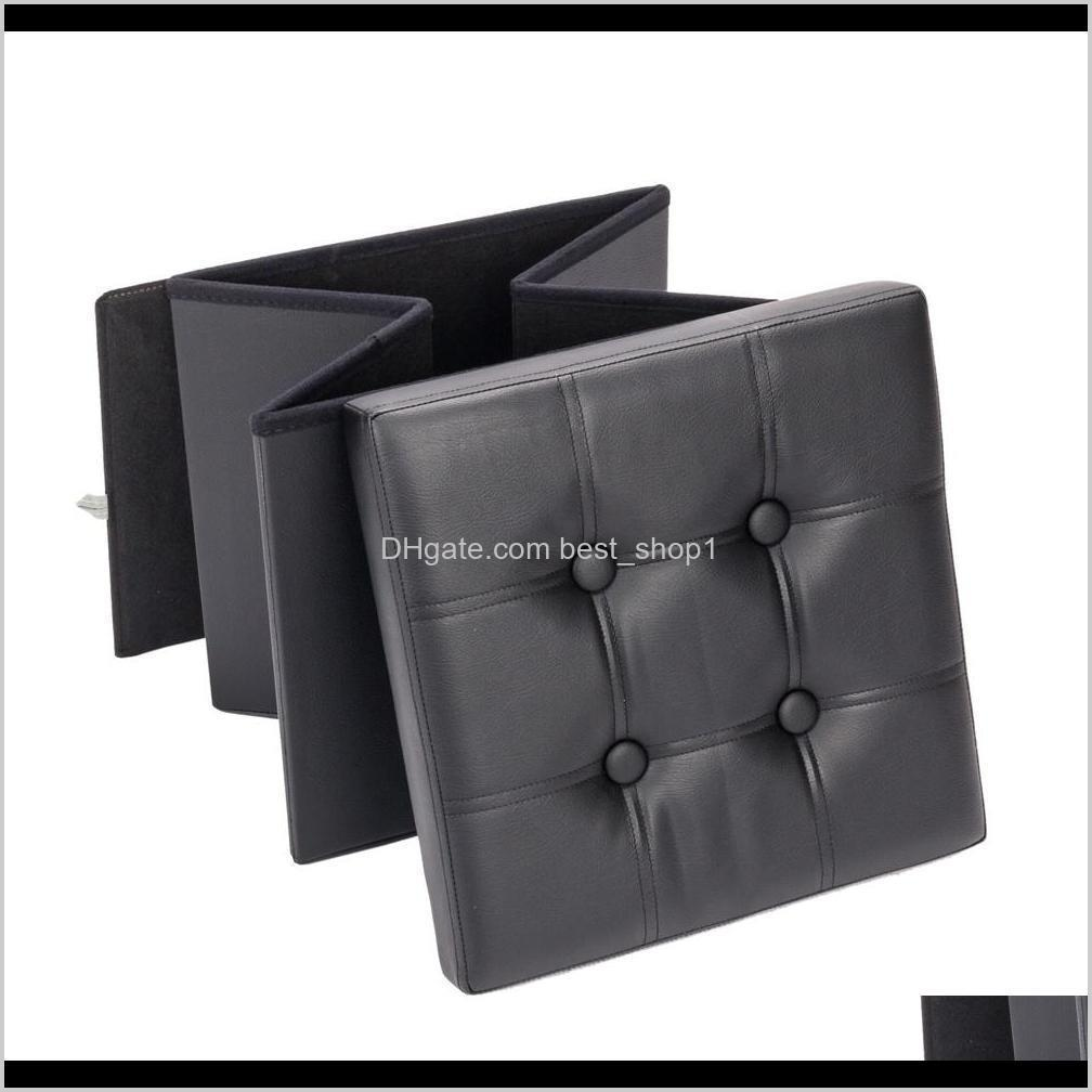 hot sale safe footstool square storage ottomans and footstool practical pvc leather classic black durable footstool