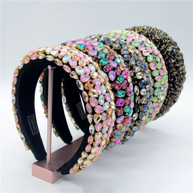رائع مجوهرات الباروك مجوهرات البوهيمي مبطن كريستال ولي رباطات مبالغة حجر الراين تيارا hairbands للنساء الزفاف