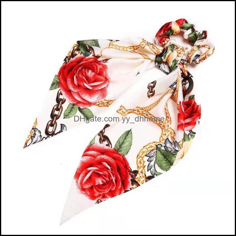 Hair Clips & Barrettes Fashion Creative Retro Classic Ever-Changing Printing Imitation Silk Headband Chain Ring