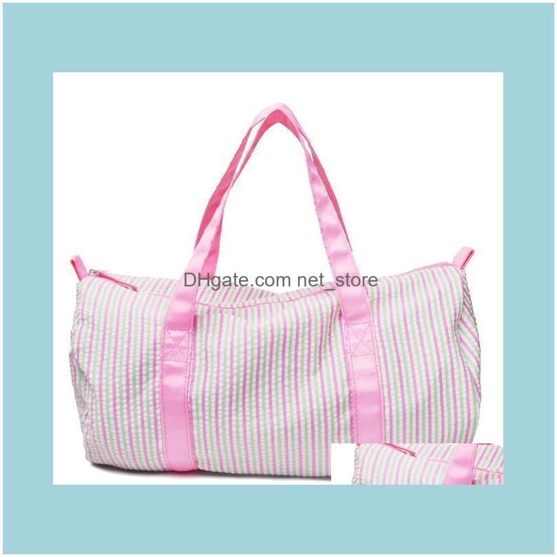 30pcs Women Seersucker Stripes Printing Round Shaped Sport Duffel Bags Mix Color