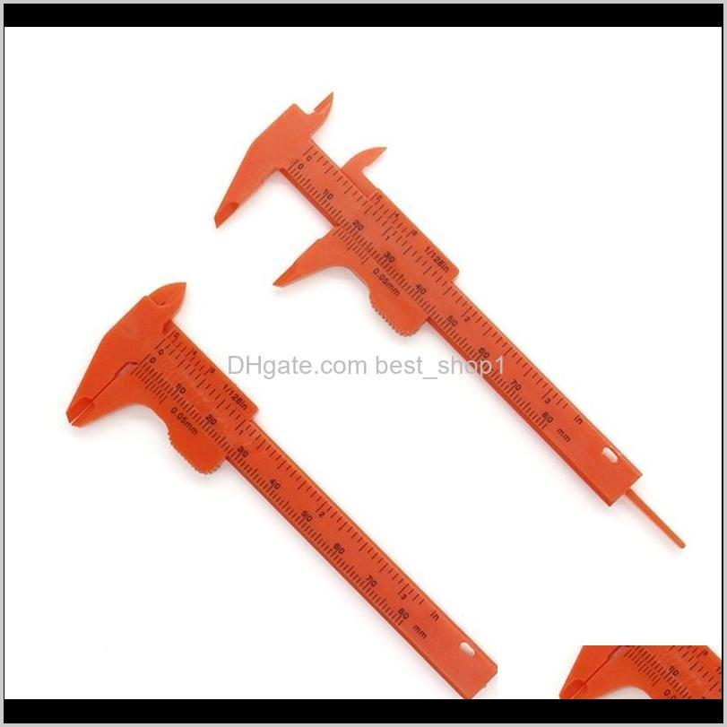 portable mini vernier caliper ruler micrometer gauge 80mm length vernier calipers double rule scale plastic measuring tool kkf3164