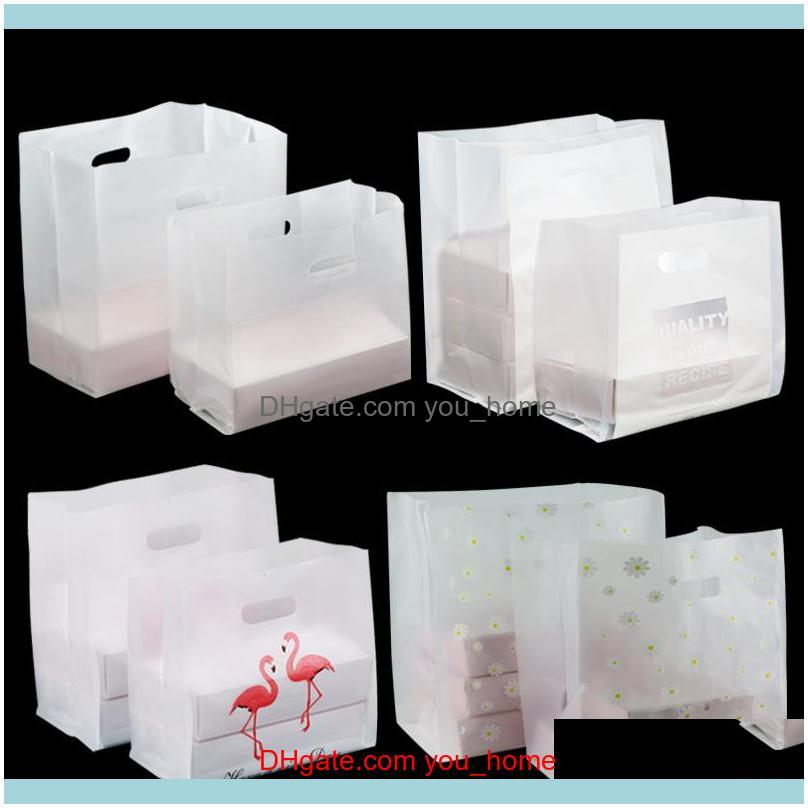 50pcs/lot Fast Box Plastic Packing Boutique salad Gift Bag Thickened Portable Takeout Bags Transparent