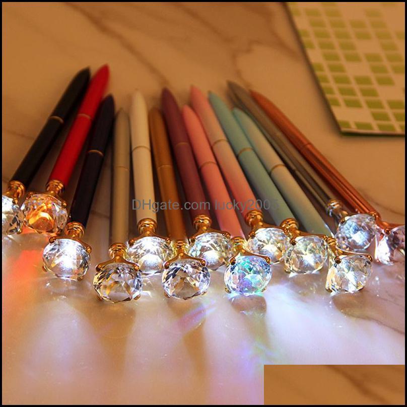 Creative LED Light Big Diamond Metal Ballpoint Glitter Crystal Pen Case Carat Ball Stationery Writing Tool Pens
