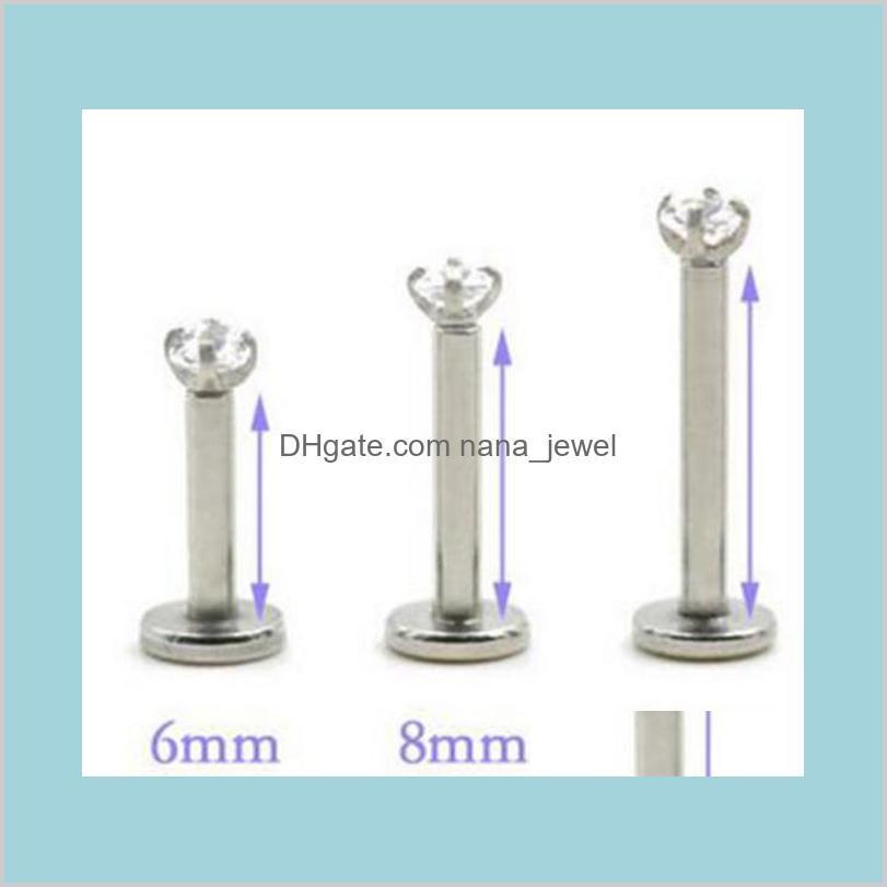 threaded prong gem tragus helix ear piercing body jewelrystar lip ring cubic zirconia internally