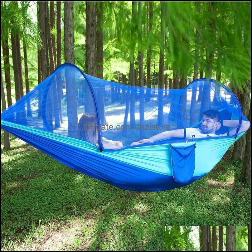 Tents And Shelters Parachute Automatic Quick Opening Hammock Tent Outdoors Camp Mosquito Net Swing Chair 2 People Sleeping Bag1