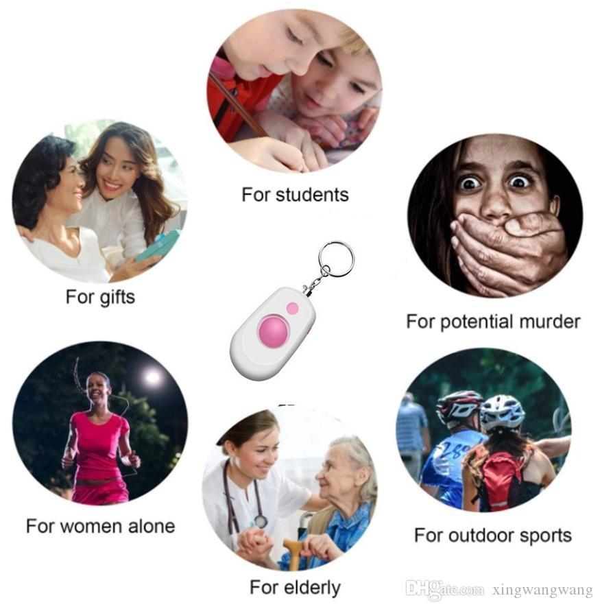 4 ألوان إنذار شخصي المفاتيح 120DB SOS الطوارئ إنذار السلامة الدفاع الذاتي لحماية النساء أطفال الطلاب الأطفال قديم