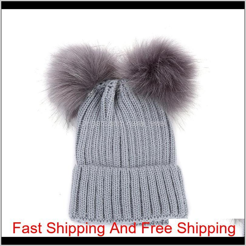 knitting warm hats with double fur ball pop winter beanie hats mom and baby family matching outfits newborn kids baby crochet caps