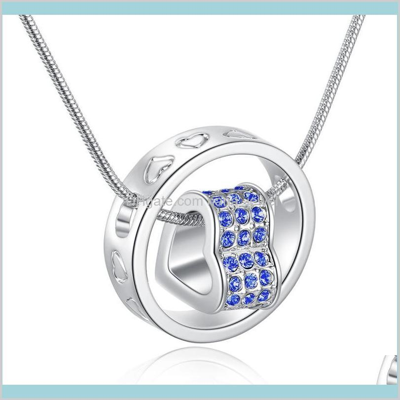 new austrian crystal diamond heart pendant necklace rhinestone heart and ring charm snake chain for women fashion jewelry in bulk