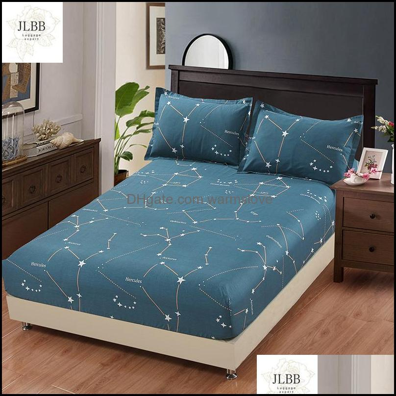 Sheets & Sets 100% Cotton Star Cartoon Blue Bed Fitted Sheet Elastic Mattress Cover Linen Bedspread Twin Full Queen King Customized