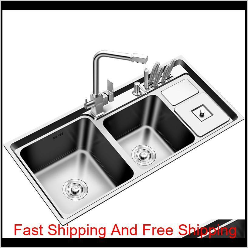 stainless steel nano sink three trough with trash can knife holder sink brushed silver 92 * 43cm sink set kitchen sinks