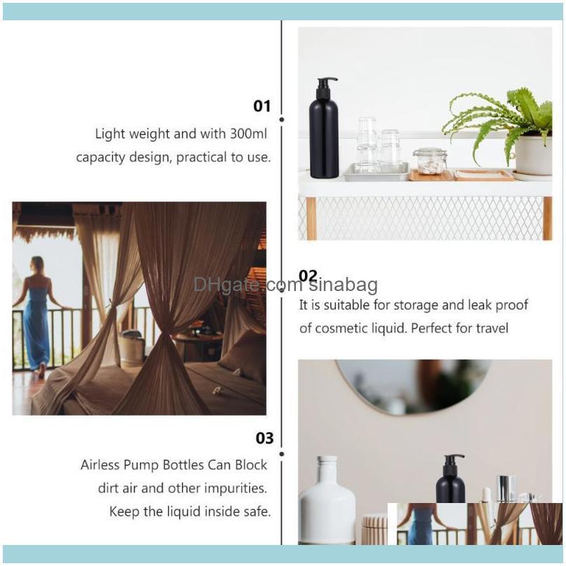 4Pcs 300ml Travel Pump Bottle Hand Sanitizer Container Lotion Shampoo Dispensers (Transparent White Cap + Bla Bath Accessory Set