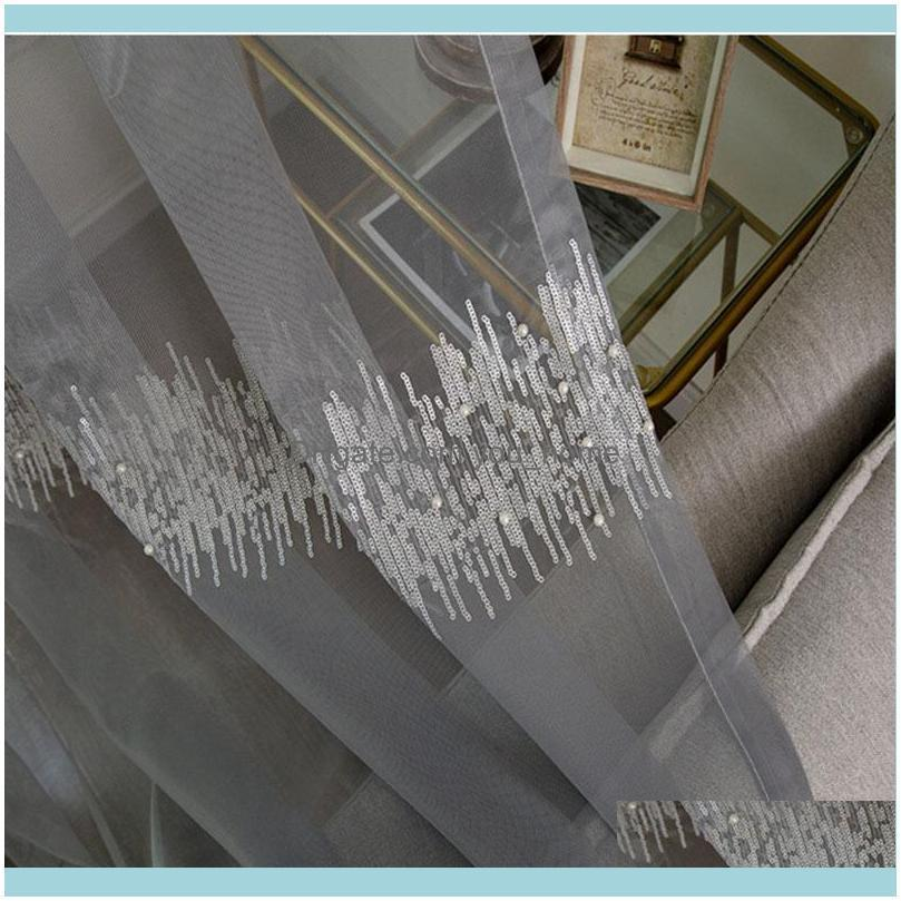 Luxury Embroidery 3D Sequined Tulle Curtains For Living Room Gray White Pearls Sheer Curtain Children Bedroom Window Screen & Drapes