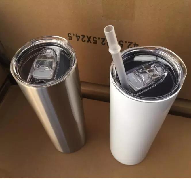 DHL 24h Schiff! 20OZ SULLIMATION Gerade dünne Tumbler-Leerzeichen Weißer Edelstahl-Vakuum-isoliertes konisches dünnes DIY 20 Oz-Tasse Auto Kaffeetassen und Strohhalm