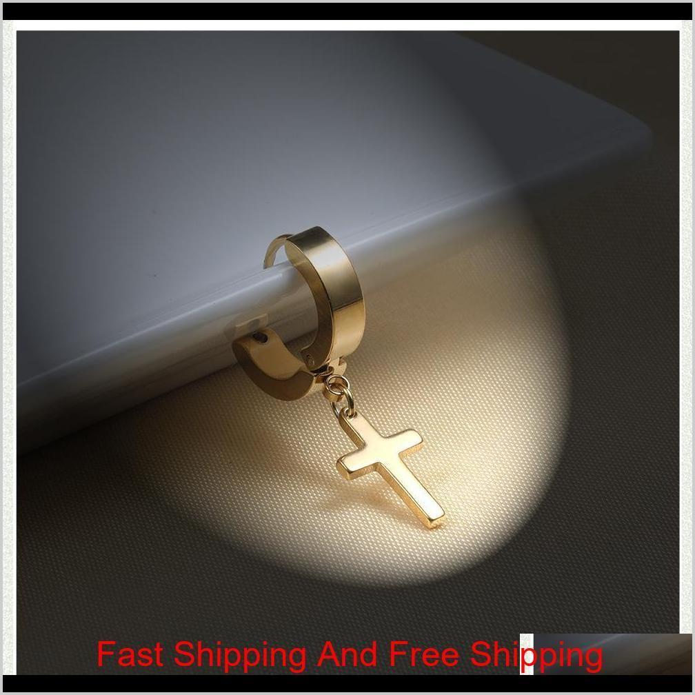 4 colors titanium steel cross stud earrings for men women jewelry silver black gold multicolor