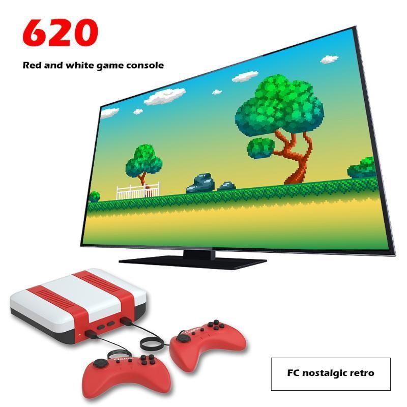 لعبة تحكم ألعاب المقود الأحمر الأبيض ميني وحدة الرجعية مزدوجة شخص 8 بت FC TV تم بناؤه في 620 ل جودة مصنع NES