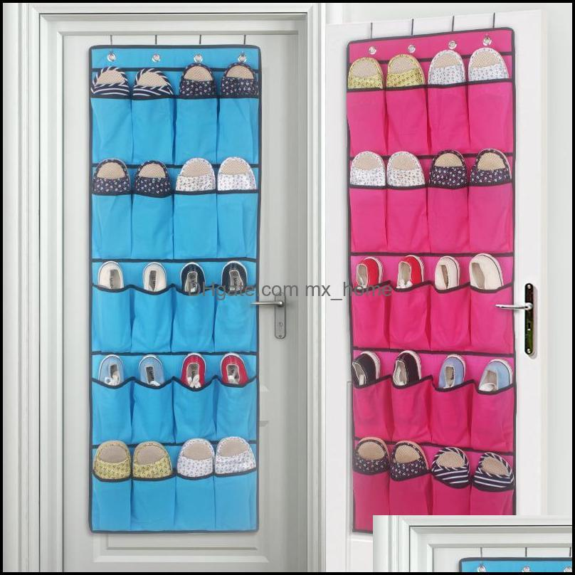 Top selling 20 Pocket Non-woven Fabric Over the Door Shoe Organizer Space Saver Rack Hanging Storage Hanger free shipping