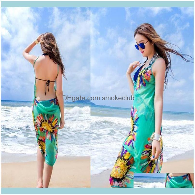 2018 Women Floral Bikini Cover Ups Print Sexy Pareo Beach Dress Bohemian Sarong Chiffon Beach Bikini Wrap Swimwear Scarf Shawl Brace