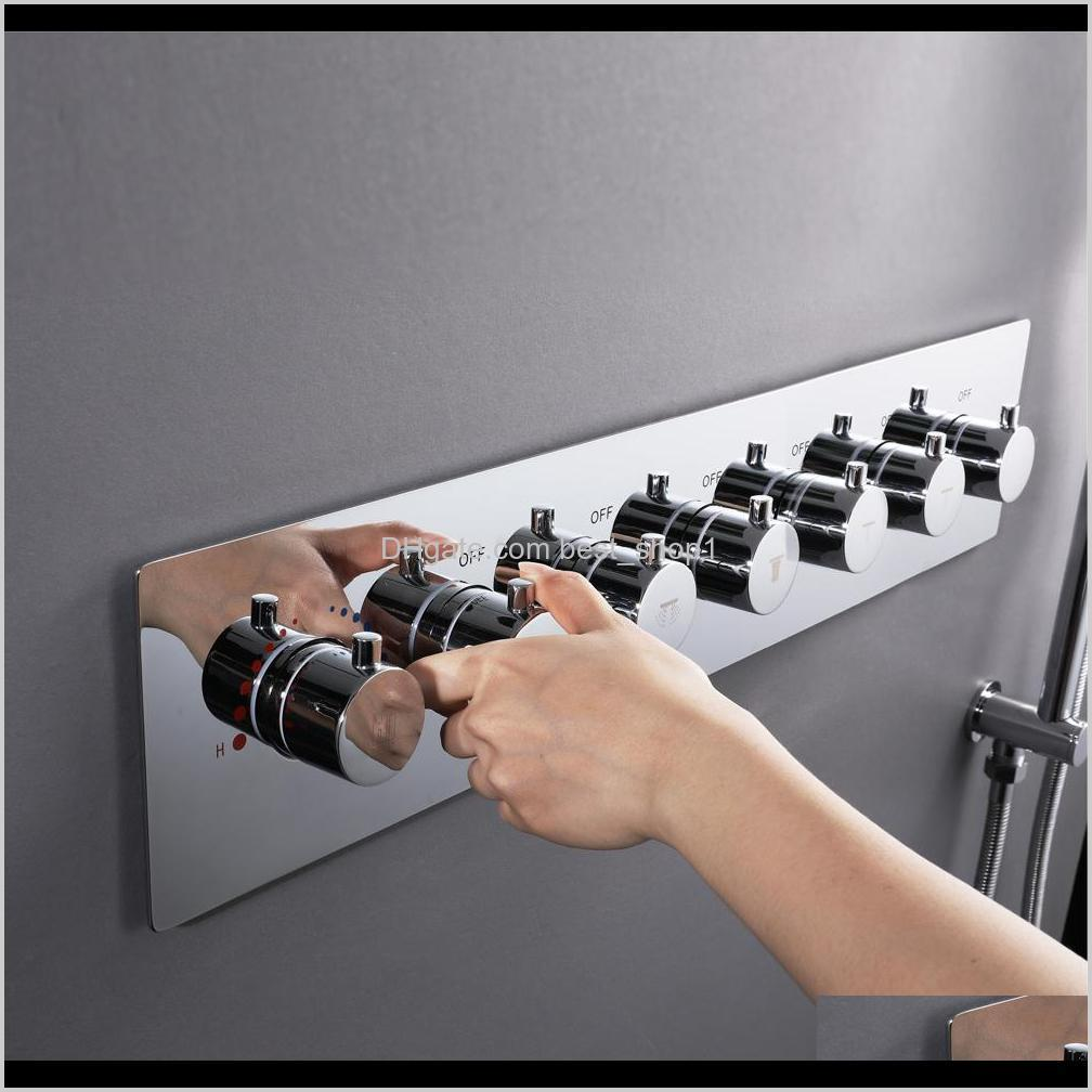 bathroom shower valve mixing big water flow shower faucets 5 or 6 ways thermostatic brass diverter valves shower controller chrome