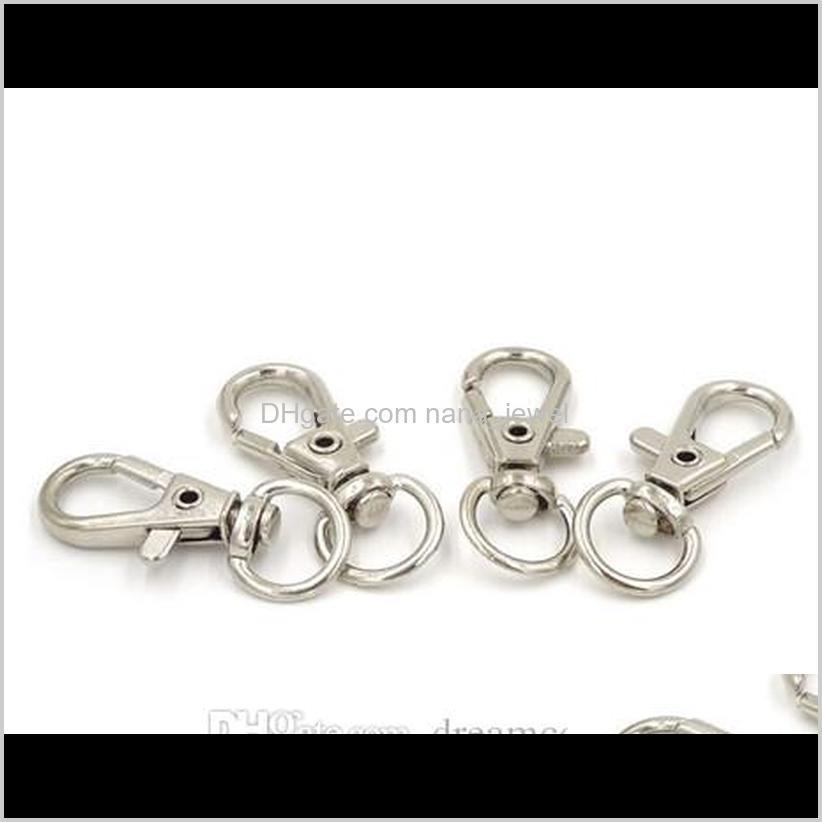 80pcs silver bronze plated metal swivel lobster clasp clips key hooks keychain split key ring findings clasps making 30mm