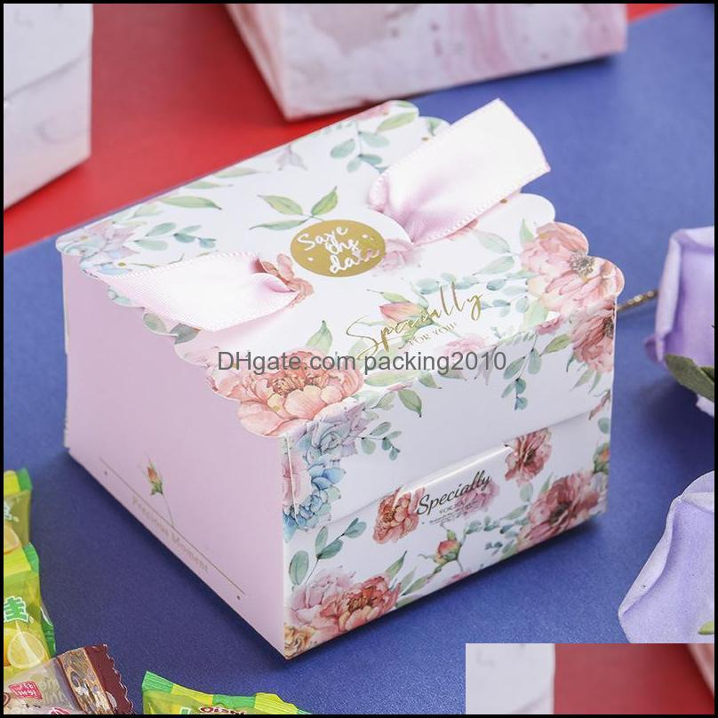 50Pcs/lot Square Candy Boxes Flower Print Ribbon Paper Gift Box Wedding Favor Birthday Party Supplies Accessories Packaging Wrap