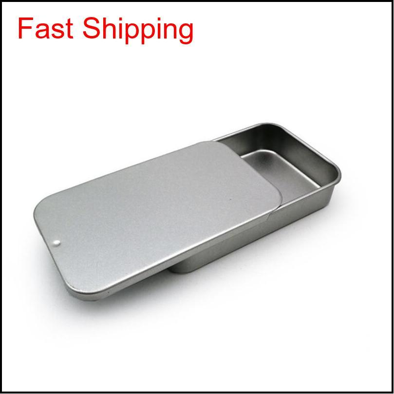 white sliding tin box mint packing box food container boxes small metal case size 80x50x15mm gwd3285
