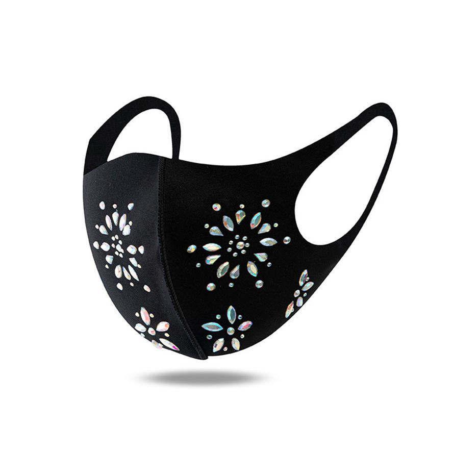 diseñador de lentejuelas de lentejuelas de lentejuelas de lentejuelas de la cara de las mujeres de la lentejuelas de la lentejuelas de las niñas de las mujeres con máscaras negras del polvo anti-polvo a prueba de polvo faceemask al por mayor