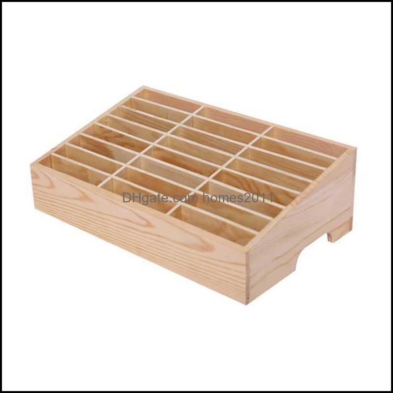 24 Cells Multifunctional Wooden Storage Box Mobile Phone Repair Tool Organizer X0703