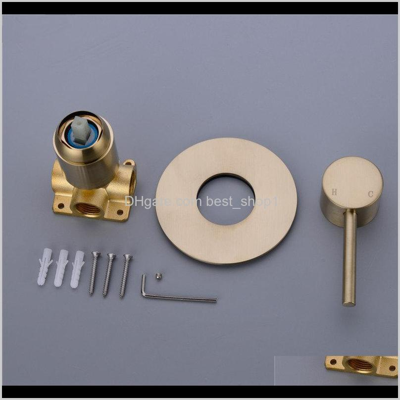 brushed gold solid brass bathroom shower faucet wall mounted