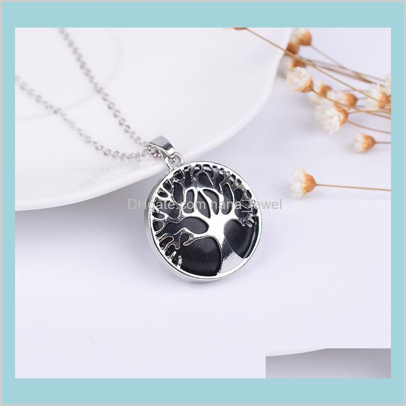 natural stone necklace hollow tree of life pink tinger`s eye gemstone charms necklace rose quartz druzy jewelry women