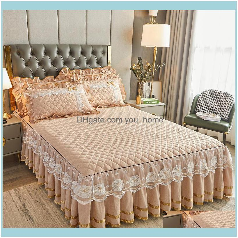Sheets & Sets Luxury Lace Bed Sheet Home Queen Thickening Warm Skirt Cases Duvet Cover Set Mattress Fitted