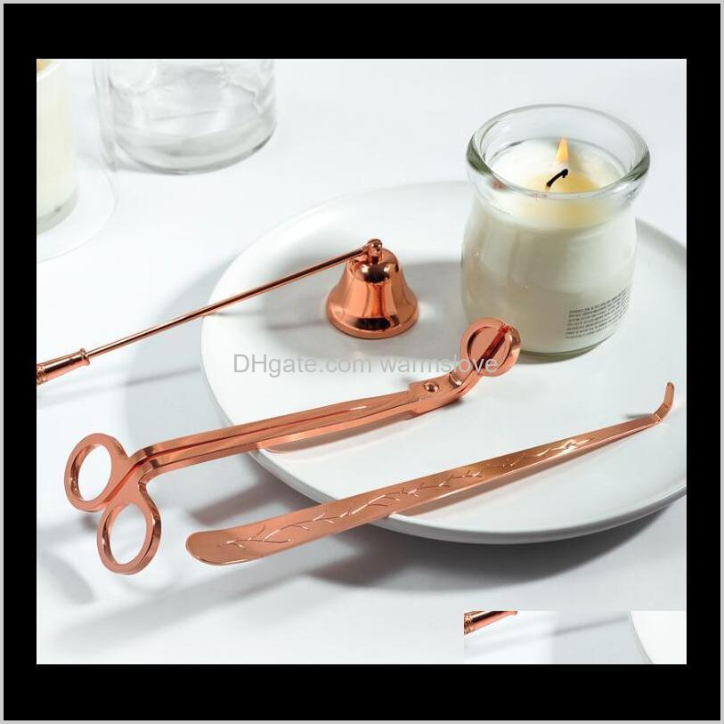 candle accessory gift pack 3 in 1 set stainless steel candle bell snuffers wick trimmer candle wick dipper