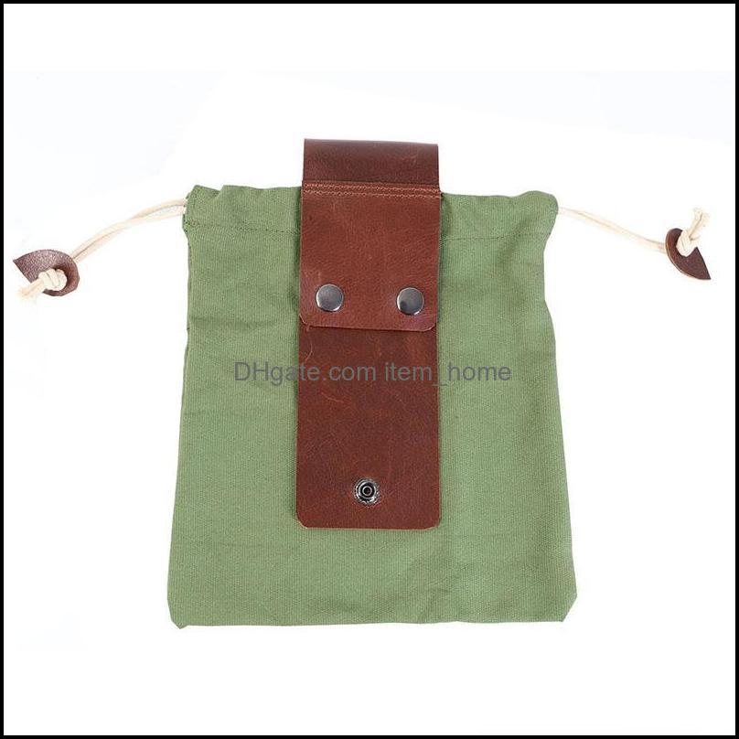 Storage Bags Canvas Bag With Leather Cover & Buckle Foldable Heavy Duty Tool Pouch Drawstring For Outdoors Camping