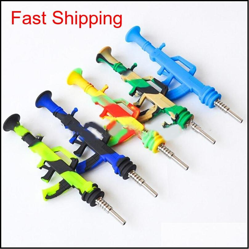 ak47 gun shape silicone nectar nector collector kit portable concentrate smoke pipe water pipe with titanium tip dab straw oil rigs