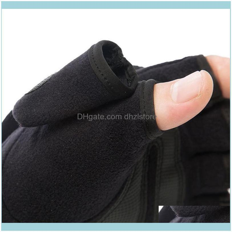 Pair Fashion Winter Warm Gloves Windproof Fingerless Cycling Durable Comfortable Black Flip Male Non-slip