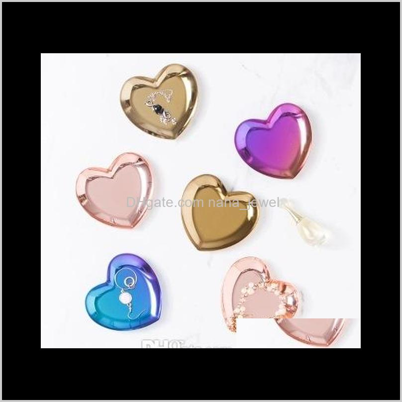 heart shaped jewelry tray 3 colors metal tray ring necklace jewelry storage plate nordic style ins home furnishings