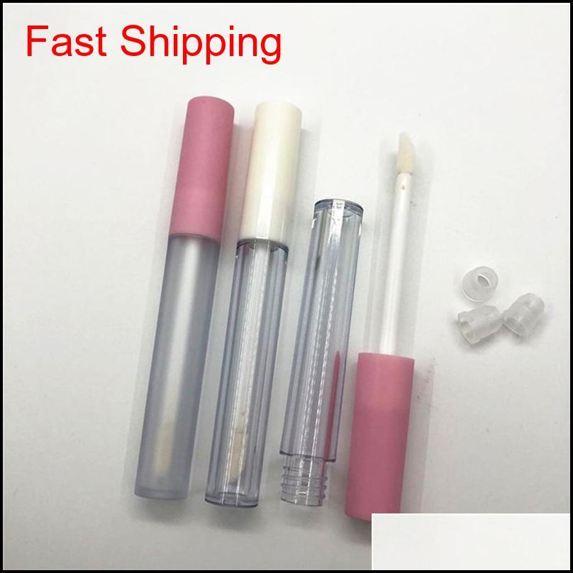 2.5ml frosted clear empty lip gloss containers tube lid balm lid brush tip applicator wand rubber stoppers 6 colors