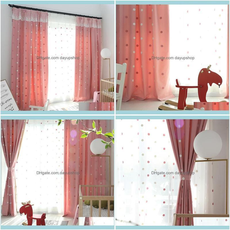 Modern Simple Embroidered Children`s Room Shading Curtains for Living Dining Room Bedroom.