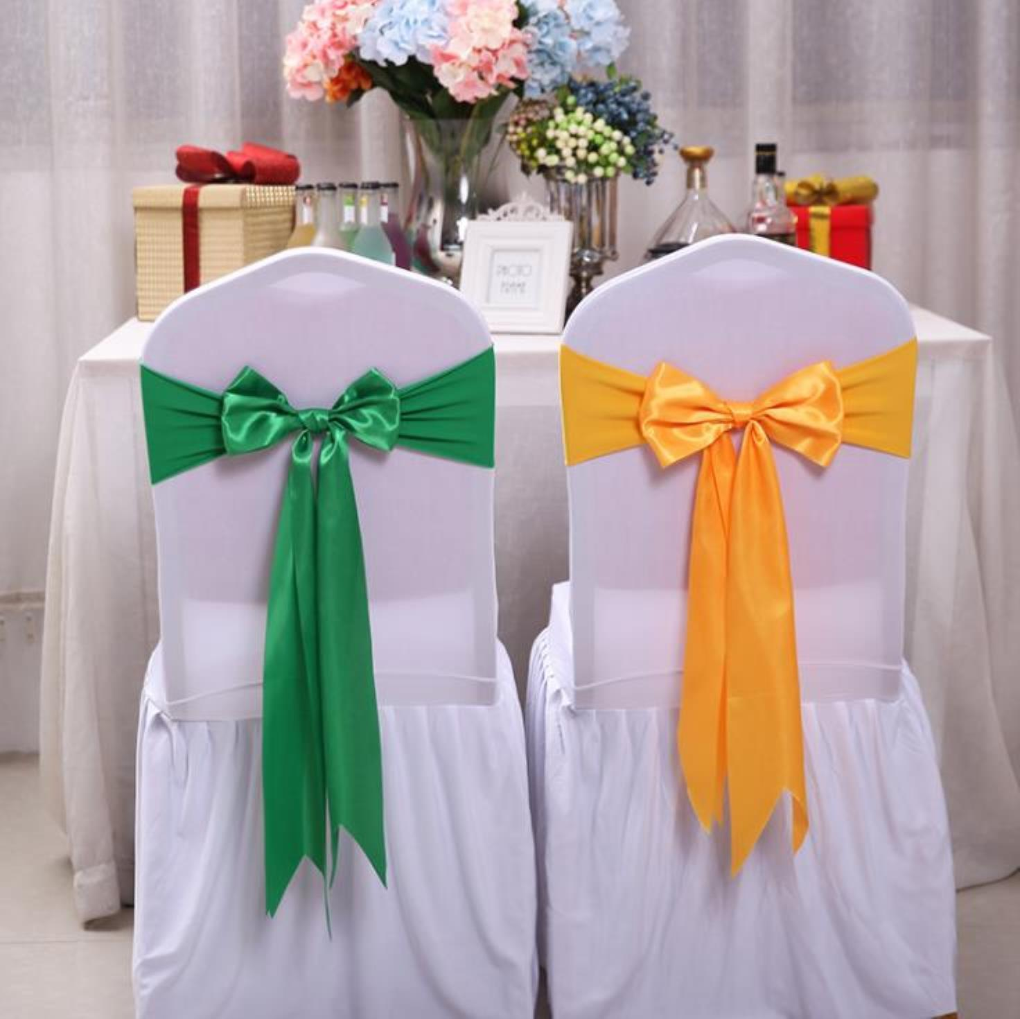 25pcs Wedding Decoration Knot Chair Bow Sashes Satin Spandex Chair Cover Band Ribbons Chair Tie Backs For Party Banqu jllKDK