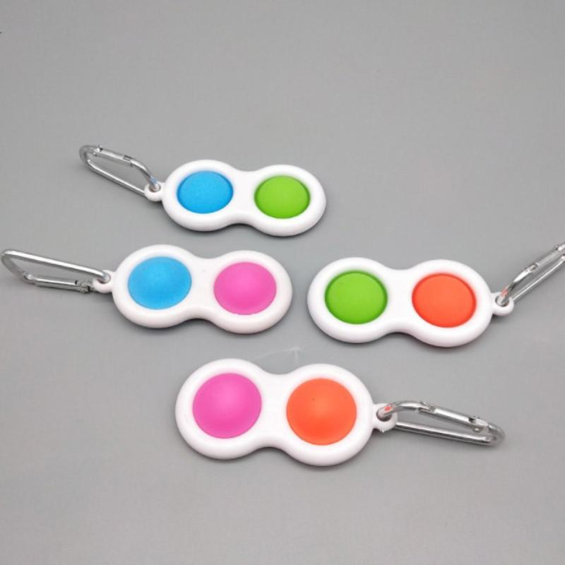 Dimple Keychain Fidget Party Favor Sensory Pop Toys Push Bubble Triangle Key Ring Bag Pendants Squeeze Silicone Toy Pendant