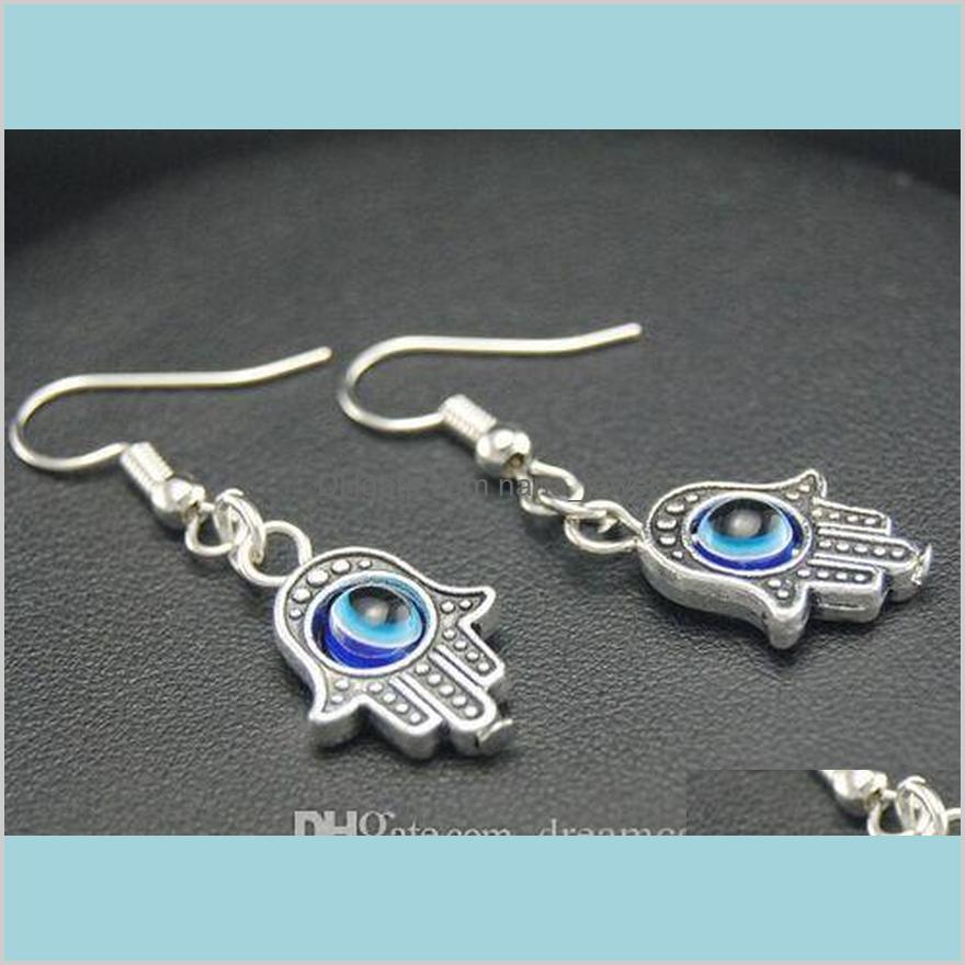 20pair silver plated blue evil eye dangle drop earrings charms pendant earrings ear stud handmade diy jewelry new
